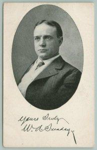 Billy Sunday Oval Portrait~Yours Truly WA Signature Facsimile~c1910 B&W Postcard