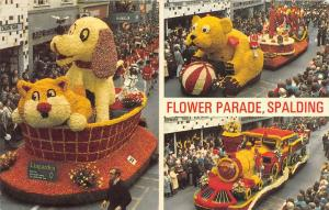 8704 England Spaulding Floats of Dog, Train and Teddy Bear  Flower Parade