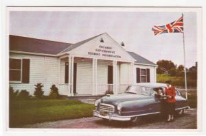 Ontario Tourist Info Center Car US Canada Border postcard