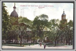 Wisconsin, Milwaukee Court House & St John's Cathedral - [WI-176]