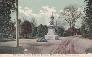 Indiana Fort Wayne Entrance To Lawton Park and Lawton Monument 1916
