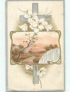 Pre-Linen easter religious COUNTRY SCENE WITH FLOWERS AND JESUS CROSS J2140