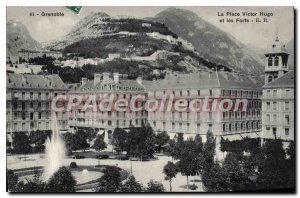 Old Postcard Grenoble Place Victor Hugo and Les Forts