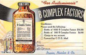 Medicine Advertising Old Vintage Antique Post Card B Complex Factors Double F...