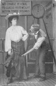 Amusement Park Carney Barker Guesses Weight by Grabbing Her Leg~Scales 1907