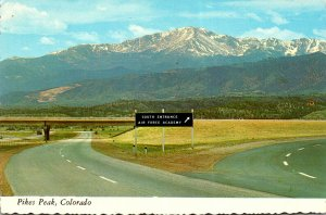 Colorado Pikes Peak South Entrance Air Force Academy Highway Sign