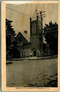 Wellsville, New York Postcard FIRST M.E. CHURCH Street View c1910s Unused