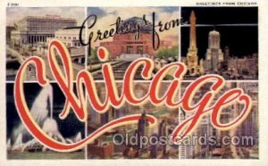 Chicago, Illinois Large Letter Town Unused