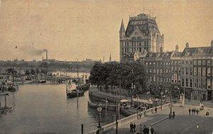 Netherlands Rotterdam Geldersche Kade Harbour Boats Street Postcard