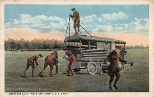 Wireless Auto Truck and Outfit, U.S. Army, Circa 1915-1920 Postcard, Unused