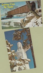 Postcards Christ of the Ozarks, Covered Bridge Arkansas Missouri Scenic