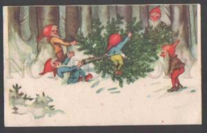 111711 Funny GNOME Elf w/ X-MAS TREE Vintage Colorful PC