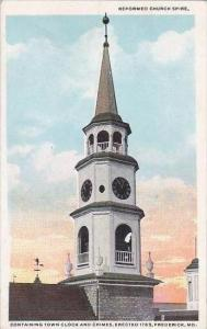 Maryland Frederick Reformed Church Spire Containing Town Clock And Chimes Ere...