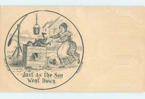 Pre-1907 comic THE SUN WENT DOWN - BOY FALLS DOWN WATER WELL HL1925