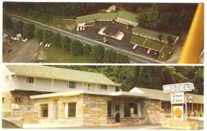 Watkins Glen NY Aerial Street Views Motel Glen Eden AAA Rated Postcard