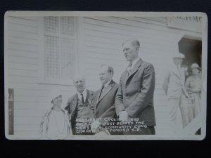 USA PRESIDENT COOLIDGE & Rolf Lium at Cong Church Hermosa c1920s RP Postcard