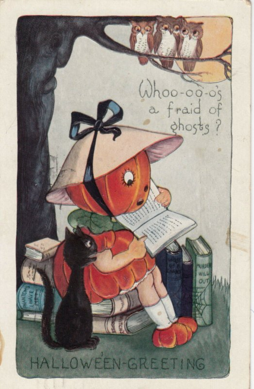 HALLOWEEN , 1923 ; Pumpkin Head Girl , Owls , & Black Cat ; Reading a book