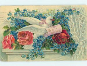 Pre-Linen BEAUTIFUL DOVE BIRD SITTING IN ROSE & FORGET-ME-NOT FLOWERS HL6051