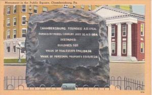 Pennsylvania Chambersburg Monument In The Public Square
