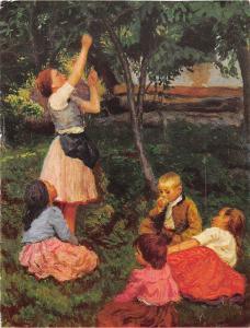 B25757 Glatz Oszkar Fruit picking children art painting