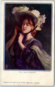 c1900s UNITED CIGAR STORES Advertising Postcard Pretty Lady Her Easter Bonnet