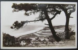 Highway To Del Mar From Torrey Pines Park CA 1945 Real Photo PC