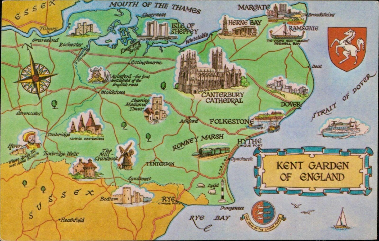 Map Of England Kent.Kent Garden Of England Uk Map Postcard Hippostcard