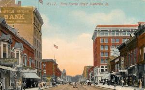 Waterloo Iowa~East Fourth Street~Fairyland~Spike Signs~UTK Shoes~1914 Postcard