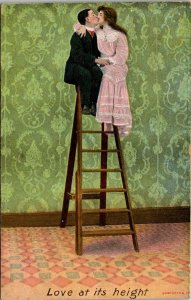 VTG Postcard Valentine Love At Its Height Couple Kissing Art Deco England 1858