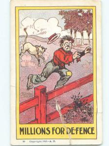 damaged Pre-1907 Comic COW BULL CHASING MAN AB9710