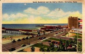 Galveston, Texas - Beach Boulevard and the Gulf of Mexico - in 1956