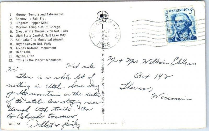 UTAH State Map Postcard Big Letter 12 Views Highway Road Map ...