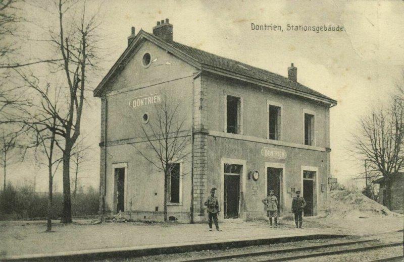 france, DONTRIEN, La Gare, Railway Station (1915) German Feldpost Postcard