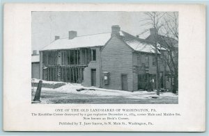Washington Pennsylvania~Keothline Corner~Gas Explosion c1884~Main & Maiden~1908