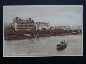 London Embankment HOTELS CECIL & SAVOY - Old Postcard by W. Straker