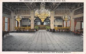 Interior of Casino, Tijuana Hot Springs, Mexico, Early Postcard, Unused