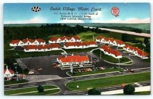 Postcard DE New Castle Airview Dutch Village Motor Court D11
