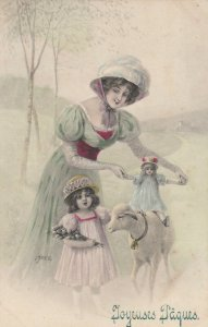 AS; V.K. VIENNE #4019 ; Joyeuses Paques, 1900-10s; Woman, child, doll & a sheep