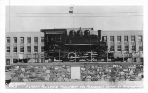 Alaska Railroad monument Passenger Depot train 1950s RPPC real photo 8169