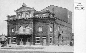 Cadillac Michigan~Opera House~Three Story Building~Parapet~1905 B&W Postcard