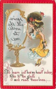 Dwig~Girl In Yellow Dress Takes Backward Message To Mirror~Lit Candle~Gold~Embos