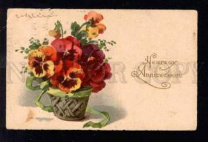028318 PANSY in Basket by C. KLEIN vintage Greeting PC