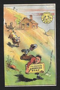 VICTORIAN TRADE CARD Fairbank's Lakeside Soap Dog after Boy