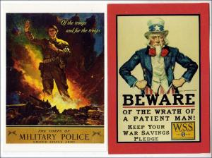 2 - WW2 Cards, Military Police & Beware     (Reproductions)
