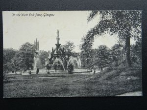 Scotland GLASGOW West End Park Water Fountain - Old Postcard