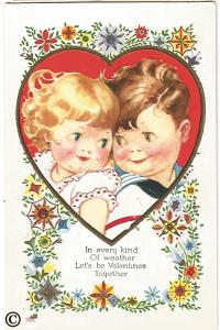 Pixie Faced Children in Red Heart Mod Flowers Vintage Valentine's Day Postcard