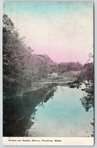 Warren Minnesota~Snake River Scene~Trees Reflected in Water~c1910 Colored Sky