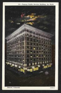 Public Service Building at Night Denver Colorado Unused c1920s