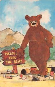 Please Feed The Bears Bear Unused minimal wear, yellowing spots on back from age