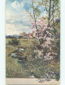 Unused Pre-Linen foreign signed BEAUTIFUL FLOWERING TREES BESIDE THE CREEK J4341